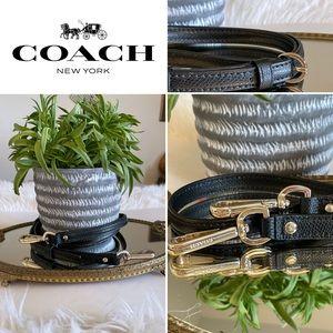 Coach black & gold leather adjustable purse strap